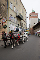 Horse and Carriage for tours around the Stare Miasto Old Town in Krakow Poland
