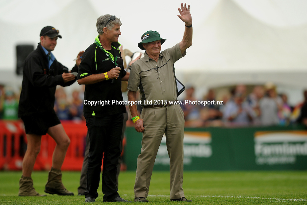 Fred Booth acknowledges the crowd, prior to the Farmlands Cup match between the Highlanders and the Crusaders, held at Fred Booth Park, Gore, New Zealand, 11 February 2016. Copyright Image: Joe Allison / www.Photosport.nz