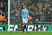 Leroy Sane (19) of Manchester City shows his frustration after missing his penalty in the shoot out during the Carabao Cup Final match between Chelsea and Manchester City at Wembley Stadium, London, England on 24 February 2019.