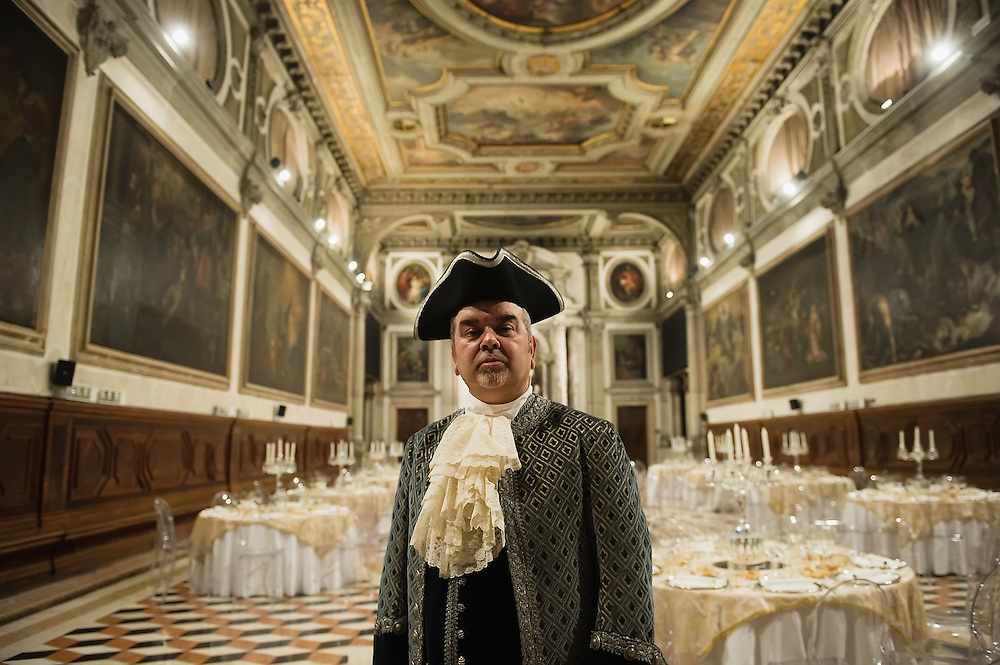 """VENICE, ITALY - FEBRUARY 16:   A classical singer poses for pictures ahead of one of the most exclusive carnival ball """"1796-2012 the End of Carnival"""" organised by Atelier Pietro Longhi at Scuola Grande S Giovanni Ecangelista on February 16, 2012 in Venice, Italy.  The annual festival, which lasts nearly three weeks, will see the streets and canals of Venice filled with people wearing highly-decorative and imaginative carnival costumes and masks.  (Photo by Marco Secchi/Getty Images)> on February 16, 2012 in Venice, Italy.  (Photo by Marco Secchi/Getty Images)"""