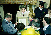 Raisa Gorbachev at Bunratty Folk Park.  (R99)..1989..02.04.1989..04.02.1989..2nd April 1989..While her husband, Russian President Mikhail Gorbachev,was working on state matters ,Mrs Gorbachev was taken on a tour of Bunratty Folk Park in Co Clare. The Gorbachevs were in Ireland as part of a tour of European Capitals...Mrs Gorbachev is pictured accepting a framed certificate to celebrate his visit to the Folk Park in Bunratty, Co Clare.