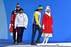 ARENDZ Mark CAN LW6, DAVIET Benjamin FRA LW2, REPTYUKH Ihor UKR LW8, ParaBiathlon, Para Biathlon, Podium at PyeongChang2018 Winter Paralympic Games, South Korea.