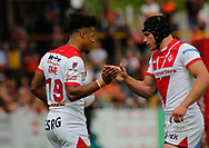 Regan Grace (L) of St Helens celebrates scoring the 1st try of the game against Castleford Tigers with team mate Jonny Lomax (R) during the Ladbrokes Challenge Cup match at the Mend-A-Hose Jungle, Castleford<br /> Picture by Stephen Gaunt/Focus Images Ltd +447904 833202<br /> 12/05/2018