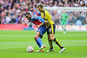 Crystal Palace's Jason Puncheon and Watford's Almen Abdi battle for the ball during the The FA Cup match between Crystal Palace and Watford at Wembley Stadium, London, England on 24 April 2016. Photo by Shane Healey.