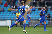 FC Halifax Town defender Joe Skarz (39) chests the ball during the Vanarama National League match between FC Halifax Town and Dover Athletic at the Shay, Halifax, United Kingdom on 17 November 2018.