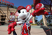 ANAHEIM, CA - JUNE 6:  A statue of Mickey Mouse dressed up as a Los Angeles Angels of Anaheim player stands tall outside the stadium before the game against the Chicago White Sox at Angel Stadium on Friday, June 6, 2014 in Anaheim, California. The Angels won the game 8-4. (Photo by Paul Spinelli/MLB Photos via Getty Images)