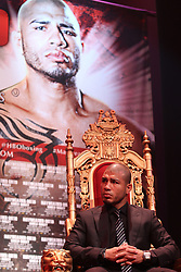 Feb 28; New York, NY, USA; Miguel Cotto during the press conference announcing his fight against Floyd Mayweather. The two will meet May 5, 2012 at the MGM Grand Garden Arena in Las Vegas, NV.
