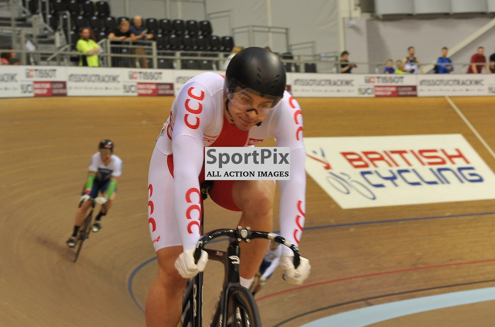 Poland's Patryk Rajkowski gets relegated for entering the sprinter's lane when the opponent was already there in the Men's Kierin in the UCI Track Cycling World Cup, Sir Chris Hoy Velodrome, Emirates Arena, Glasgow, Saturday 03 November 2016...(c) Angie Isac | SportPix.org.uk
