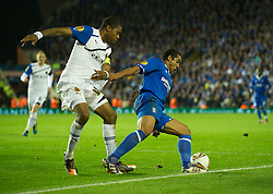 BIRMINGHAM, ENGLAND - Thursday, November 3, 2011: Birmingham City's Jean Beausejour goes down to win a penalty from Club Brugge's Ryan Donk during the UEFA Europa League Group H match at St. Andrews. (Pic by David Rawcliffe/Propaganda)