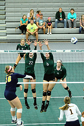 22 September 2015: Kyleigh Block(2), Martha Murray(16), Anne Cummings(22), Maisy Bowden(6), Colleen Rynne(9) and Kylie Siebert(1)  during an NCAA womens division 3 Volleyball match between the Augustana Vikings and the Illinois Wesleyan Titans in Shirk Center, Bloomington IL