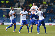 Bury Forward, Ryan Lowe scores again 2-2 during the Sky Bet League 1 match between Bury and Southend United at the JD Stadium, Bury, England on 8 May 2016. Photo by Mark Pollitt.