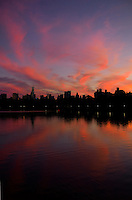 Sunset along the Jacqueline Kennedy Onassis Reservoir in Central Park.  <br /> <br /> Photo by Robert Caplin