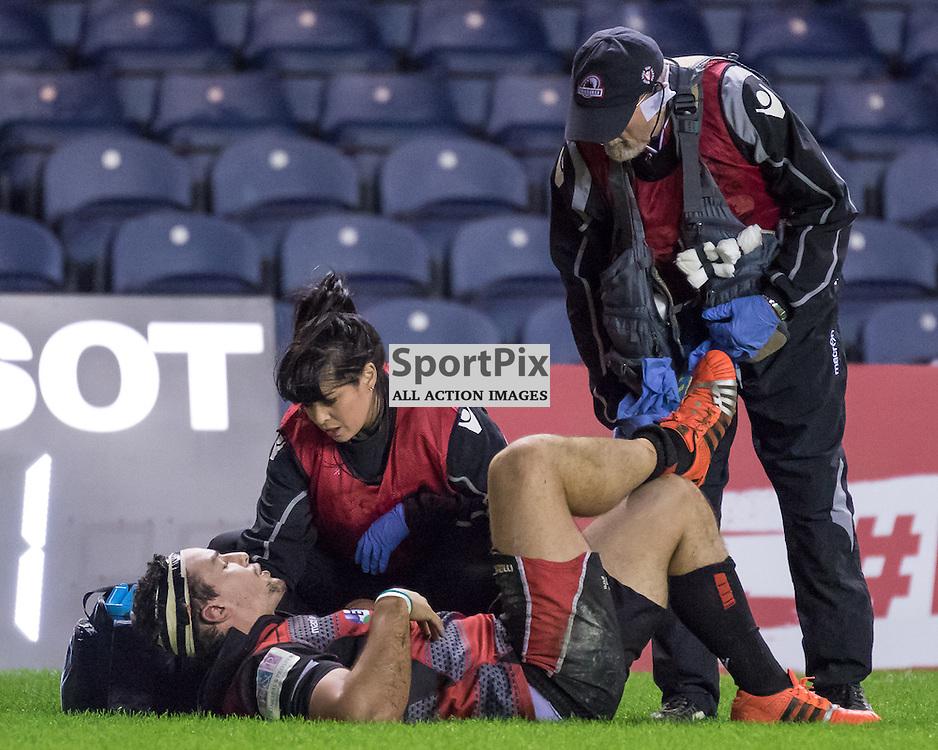 Edinburgh try scorer John Hardie receives treatment after scoring his try. Edinburgh Rugby v London Irish, 18th December 2015