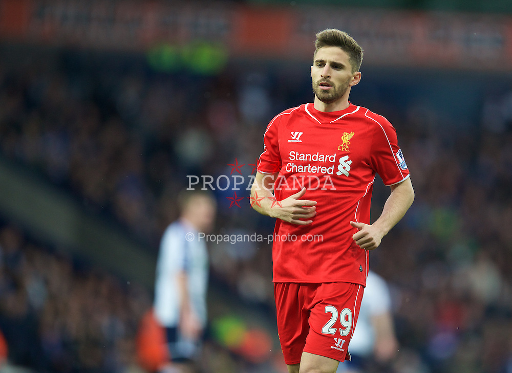 WEST BROMWICH, ENGLAND - Saturday, April 25, 2015: Liverpool's Fabio Borini in action against West Bromwich Albion during the Premier League match at the Hawthorns. (Pic by David Rawcliffe/Propaganda)