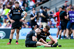 Henry Slade of Exeter Chiefs and Luke Cowan-Dickie of Exeter Chiefs cut dejected figures after defeat to Saracens in the Premiership Rugby Final - Mandatory by-line: Robbie Stephenson/JMP - 01/06/2019 - RUGBY - Twickenham Stadium - London, England - Exeter Chiefs v Saracens - Gallagher Premiership Rugby Final