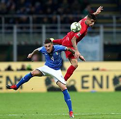November 17, 2018 - Milan, Italy - Italy v Portugal - UEFA Nations League League A..Cristiano Biraghi of Italy and Joao Cancelo of Portugal at San Siro Stadium in Milan, Italy on November 17, 2018. (Credit Image: © Matteo Ciambelli/NurPhoto via ZUMA Press)