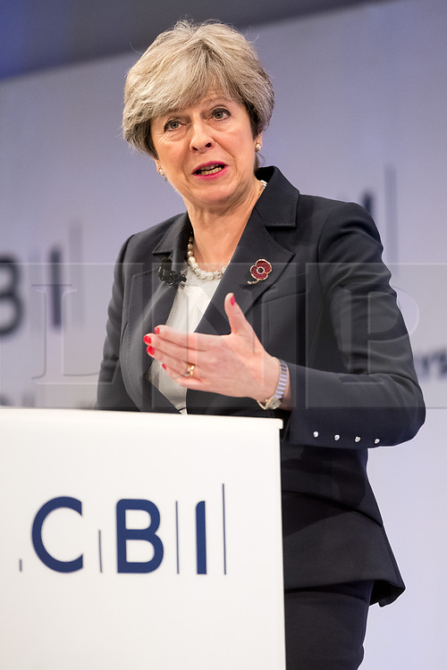 © Licensed to London News Pictures. 06/11/2017. London, UK. British prime minister THERESA MAY makes a keynote speech at the Confederation of British Industry (CBI) conference, held at Intercontinental Hotel. Photo credit: Ray Tang/LNP