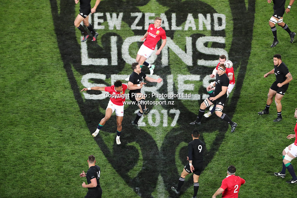 All Black kick off during the 30-15 All Black win in the first test match of the DHL Lions Series 2017 played between the All Blacks and the British and Irish Lions at Eden Park, Auckland on 24th June 2017. <br /> Copyright Photo; Peter Meecham/ www.photosport.nz