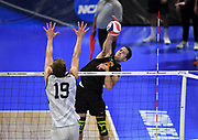 Princeton Tigers outside hitter Kendall Ratter (6) hits the ball against Pepperdine Waves outside hitter David Wieczorek (19) during an NCAA Championships opening round match, Wednesday, April 30, 2019, in Long Beach, Calif. Pepperdine defeated Princeton 25-23, 19-25, 25-16, 22-25, 15-8.