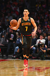 January 29, 2019 - Los Angeles, CA, U.S. - LOS ANGELES, CA - JANUARY 28: Atlanta Hawks Guard Jeremy Lin (7) brings the ball up the court during a NBA game between the Atlanta Hawks and the Los Angeles Clippers on January 28, 2019 at STAPLES Center in Los Angeles, CA. (Photo by Brian Rothmuller/Icon Sportswire) (Credit Image: © Brian Rothmuller/Icon SMI via ZUMA Press)