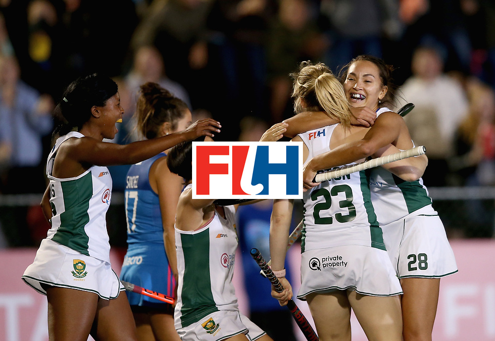 JOHANNESBURG, SOUTH AFRICA - JULY 12: Bernadette Coston of South Africa celebrates scoring their teams first goal with teammates during day 3 of the FIH Hockey World League Semi Finals Pool B match between South Africa and Argentina at Wits University on July 12, 2017 in Johannesburg, South Africa. (Photo by Jan Kruger/Getty Images for FIH)