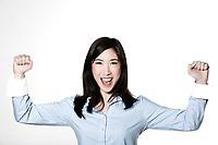 studio shot portrait of a beautiful southeast asian young woman success