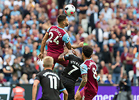 Football - 2019 / 2020 Premier League - West Ham United vs. Manchester City<br /> <br /> Ryan Fredericks (West Ham United) rises high to head the ball on at the London Stadium<br /> <br /> COLORSPORT/DANIEL BEARHAM