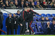 Manchester United interim Manager Ole Gunnar Solskjaer and Michael Carrick discuss tactics during the Premier League match between Cardiff City and Manchester United at the Cardiff City Stadium, Cardiff, Wales on 22 December 2018.