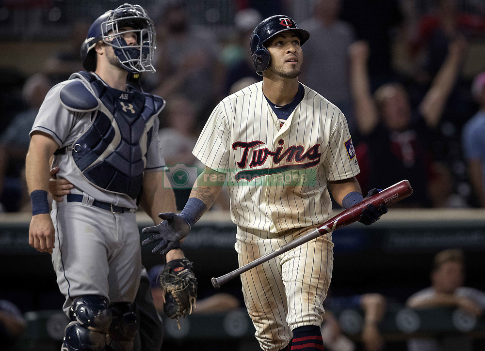 September 13, 2017 - Minneapolis, MN, USA - The Minnesota Twins' Eddie Rosario watches the flight of his walk-off two-run home run in the 10th inning against the San Diego Padres on Wednesday, Sept. 13, 2017, at Target Field in Minneapolis. The Twins won, 3-1, in 10 innings. (Credit Image: © Carlos Gonzalez/TNS via ZUMA Wire)