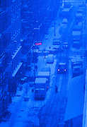 Snowstorm in Soho, New York City.