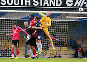 Peterborough United goalkeeper Ben Alnwick punches clear a Southend corner during the Sky Bet League 1 match between Southend United and Peterborough United at Roots Hall, Southend, England on 5 September 2015. Photo by Bennett Dean.