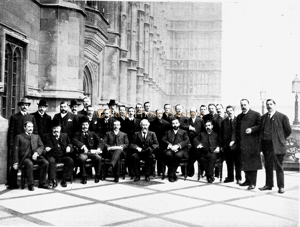 The first Parliamentary Labour (Socialist) Party gathered on the terrace of the House of Commons, London, 1906.  Ramsay Macdonald is seated third from the left, then Arthur Henderson and next to him, Keir Hardie.