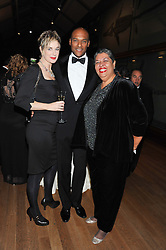 Left to right, FIONA HAWTHORNE, actor COLIN SALMON and the Jamaican High Commissioner HE ALOUN NDOMBET ASSAMBA at the annual Chain of Hope's annual Gala Ball held at the Natural History Museum, London on 8th November 2012.