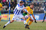 Brighton - Saturday 13th February, 2010: Glenn Murray of Brighton & Hove Albion and Darel Russell of Norwich City during the Coca Cola League One match at The Withdean, Brighton...(Pic by Alex Broadway/Focus Images)