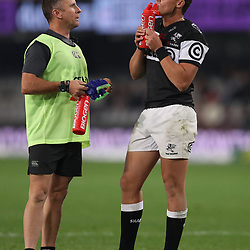 DURBAN, SOUTH AFRICA - JULY 29: Johan Pretorius Head Strength & Conditioning Coach of the Cell C Sharks with Curwin Bosch of the Cell C Sharks during the Currie Cup match between Cell C Sharks and Steval Pumas at Growthpoint Kings Park on July 29, 2017 in Durban, South Africa. (Photo by Steve Haag/Gallo Images)