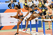Kendra Harrison (USA) defeats Brianna McNeal aka Brianna Rollins (USA) to win the women's 100m hurdles, 12.53 to 12.58, in the 2018 IAAF Doha Diamond League meeting at Suhaim Bin Hamad Stadium in Doha, Qatar, Friday, May 4, 2018. (Jiro Mochizuki/Image of Sport)
