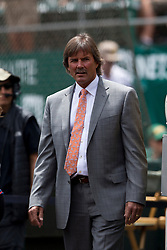 OAKLAND, CA - JUNE 21:  Former Oakland Athletics player Dennis Eckersley stands outside the dugout before the game against the Boston Red Sox at O.co Coliseum on June 21, 2014 in Oakland, California. The Oakland Athletics defeated the Boston Red Sox 2-1 in 10 innings.  (Photo by Jason O. Watson/Getty Images) *** Local Caption *** Dennis Eckersley