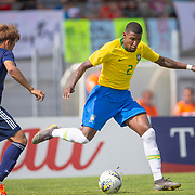 TOULON, FRANCE June 15.  Emerson #2 of Brazil defended by Matheus Cunha #19 of Brazil during the Brazil U22 V Japan U22 Final match at the Tournoi Maurice Revello at Stade D'Honneur on June 15th 2019 in Toulon, Provence, France. (Photo by Tim Clayton/Corbis via Getty Images)