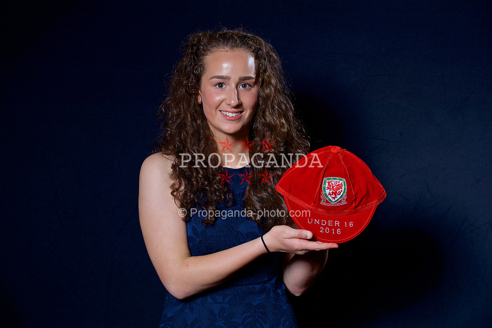 NEWPORT, WALES - Saturday, May 27, 2017: Hannah Davies with her Under-16 Wales cap at the Celtic Manor Resort. (Pic by David Rawcliffe/Propaganda)