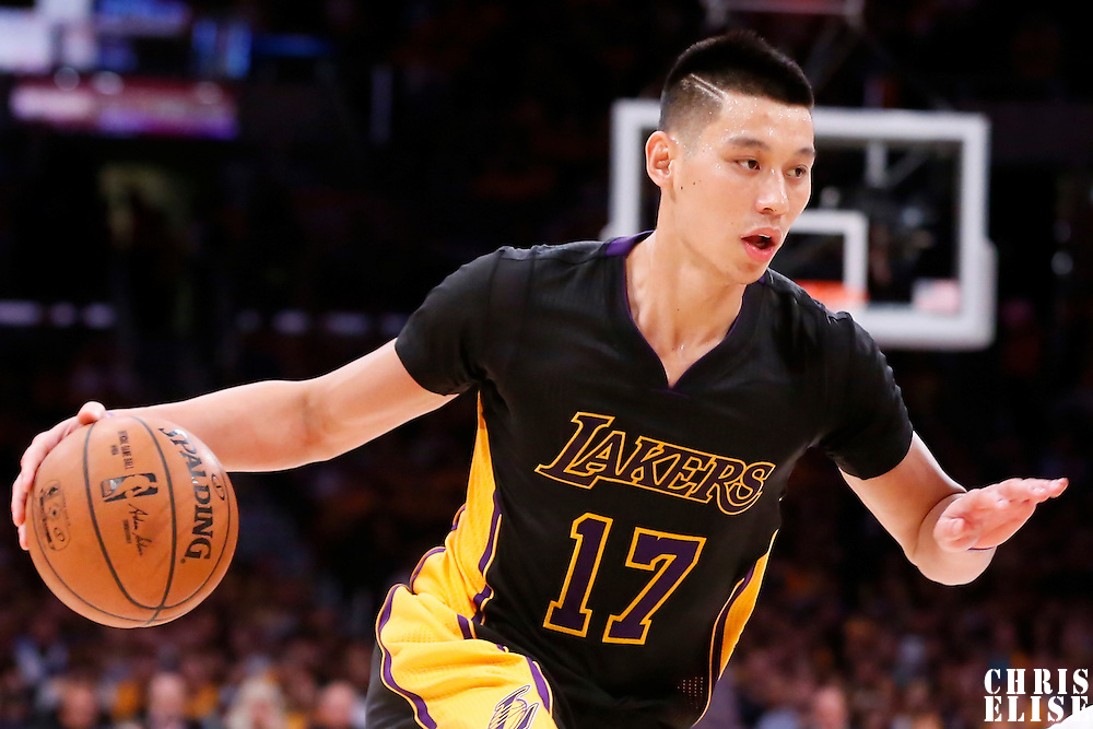 31 October 2014: Los Angeles Lakers guard Jeremy Lin (17) dribbles during the Los Angeles Clippers 118-111 victory over the Los Angeles Lakers, at the Staples Center, Los Angeles, California, USA.