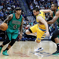 10 March 2017: Boston Celtics guard Isaiah Thomas (4) drives  past Denver Nuggets forward Danilo Gallinari (8) on a screen set by Boston Celtics center Al Horford (42) during the Denver Nuggets 119-99 victory over the Boston Celtics, at the Pepsi Center, Denver, Colorado, USA.