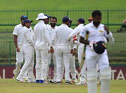 August 14, 2017 - Colombo, Sri Lanka - Indian cricketers celebrate the wicket of Sri Lanka's Malinda Pushpakumara during the 3rd Day's play in the 3rd and final Test match between Sri Lanka and India at the Pallekele international cricket stadium at Kandy, Sri Lanka on MOnday 14 August 2017. (Credit Image: © Tharaka Basnayaka/NurPhoto via ZUMA Press)
