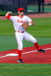 NORMAL, IL - May 01: Joe Butler picks up an infield hit and throws to 1st base during a college baseball game between the ISU Redbirds and the Indiana State Sycamores on May 01 2019 at Duffy Bass Field in Normal, IL. (Photo by Alan Look)