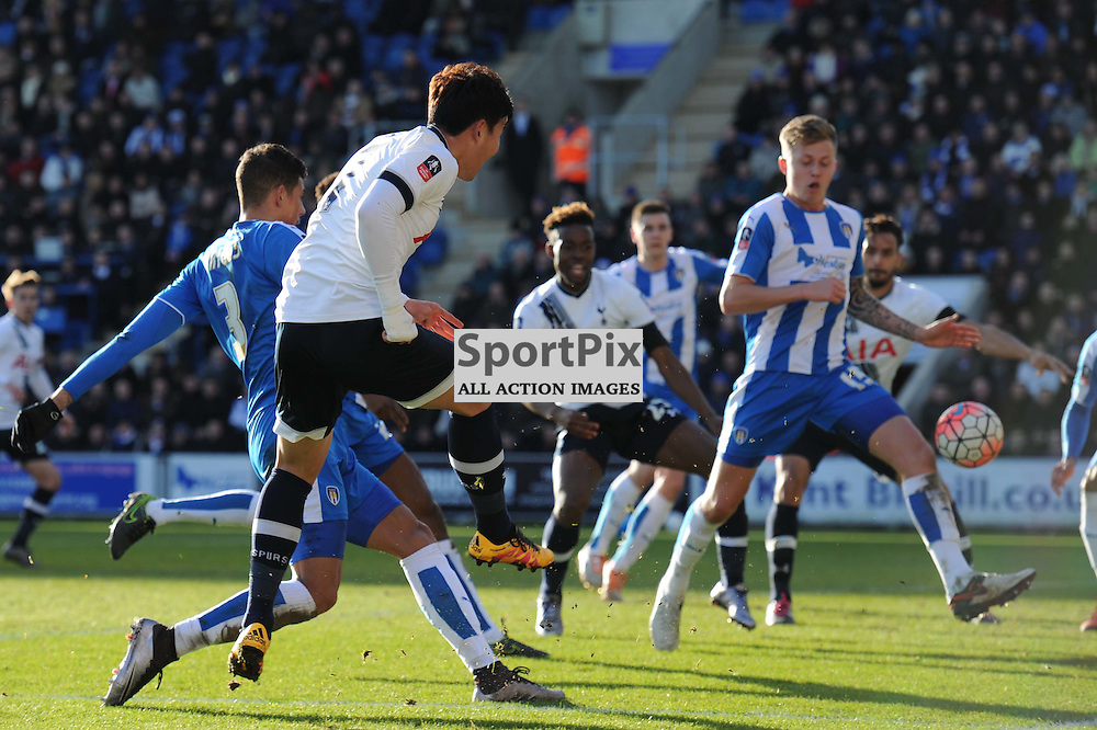 Tottenhams Heung-Min Son gets a shot away during the Colchester v Tottenham game in the FA Cup 4th Round on the 30th January 2016.