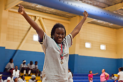 Lynisha Lafond celebrates her basket during the BasketBall event