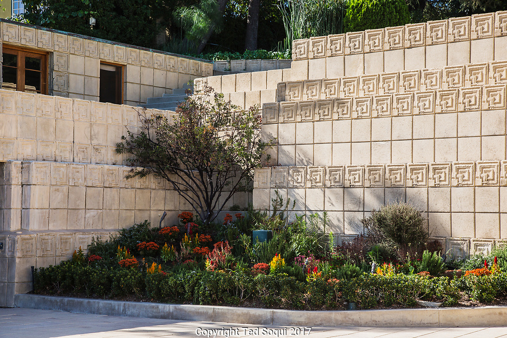 The Ennis House designed by Frank Lloyd Wright.<br /> Outside detail.