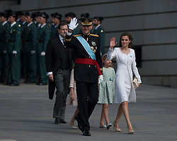 The new king of Spain Felipe VI (front) attends a military parade before the coronation in Madrid. EXPA Pictures © 2014, PhotoCredit: EXPA/ Photoshot/ Xie Haining<br /> <br /> *****ATTENTION - for AUT, SLO, CRO, SRB, BIH, MAZ only*****