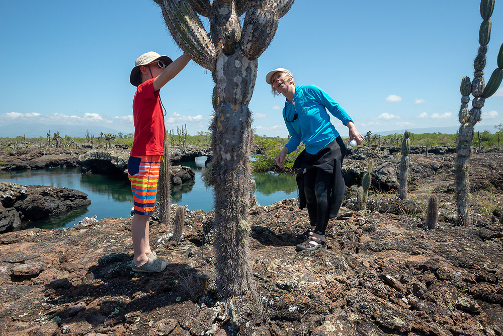 Boy and woman looking at Candelabra cactus at Los Tuneles on Isabela Island, Galapagos Islands, Ecuador.