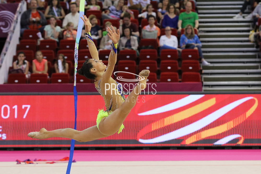 Linoy Ashram, Israel, during the 33rd European Rhythmic Gymnastics Championships at Papp Laszlo Budapest Sports Arena, Budapest, Hungary on 20 May 2017. . Photo by Myriam Cawston.