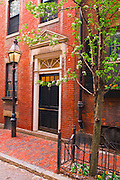 Brick house and gas street lamp on Beacon Hill, Boston, Massachusetts